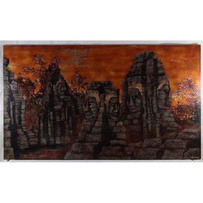 """Indochine XXe, panneau laqué """" Temple du Bayon à Angkor""""."""