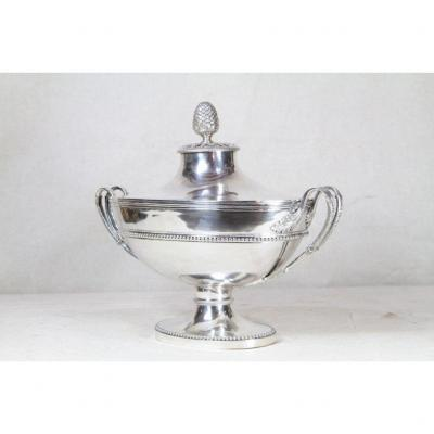 Jean-françois Caron (paris, 1783-1789), Soup Tureen In Sterling Silver, 18th Century