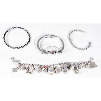 Lot De 4 Bracelets Argent (118gr), XXe