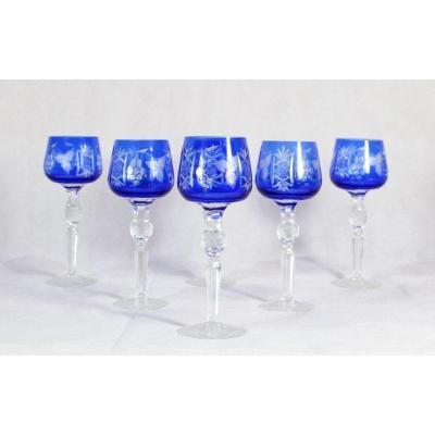 Series Of 6 Lorraine Crystal Wine Glasses, Twentieth