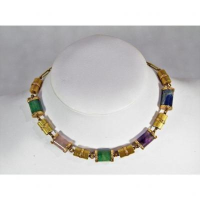 Necklace In 18k Gold And Stones, Twentieth