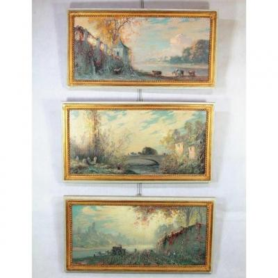 Henry Foreau (1866-1938), Series Of 3 Hst Paintings, Nineteenth