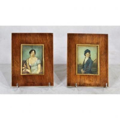Paire De Miniatures Sur Ivoire, Portraits, XIXe