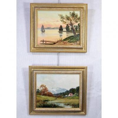 """H. Will (xxth), Pair Of Hst """"landscapes"""", Signed"""