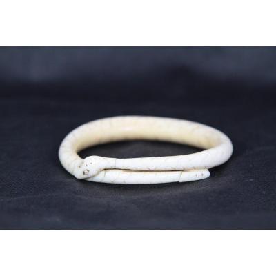 Bracelet Serpent En Dent De Verrat, Monnaie d'échange Vanuatu Océanie, XXe