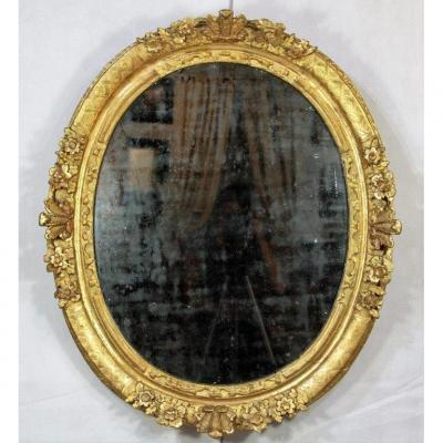 Miroir Ovale d'époque Régence En Bois Doré, XVIIIe
