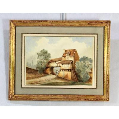 A.osny 1896, Aquarelle , XIXe