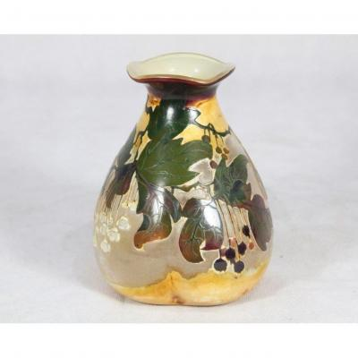 Val Saint Lambert, Lined Glass Vase With Polychrome Enamels, Around 1900