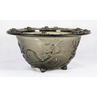 Pressed Glass Cup With Mermaid Decor, Twentieth