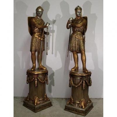 Important Pair Of Bronze Subjects, Twentieth