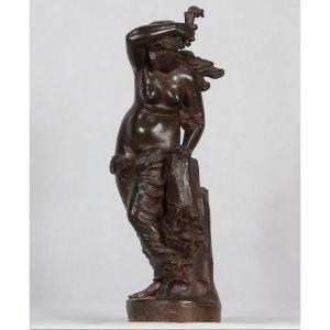 """Félix SANZEL ( 1829-1883 ), Sculpture Bronze """" Hero tenant la torche """", XIX"""