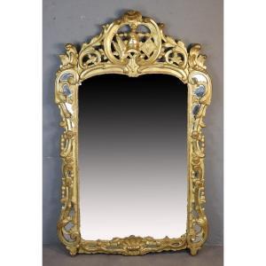 Miroir En Bois Sculpté Et Doré, époque XVIIIe
