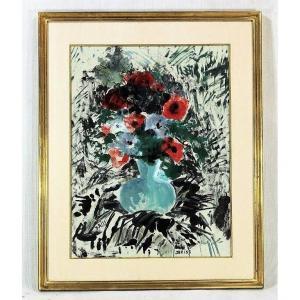 """Tableau HSP """" Bouquet de fleurs"""", signé BRISS, XXe"""