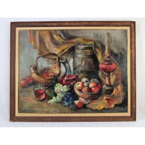 "Alexis HINSBERGER (1907-1996), Grand tableau HST ""Nature morte"", XXe"
