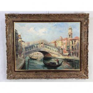 """Jacqueline Laurent (XXe) HST """" Le pont du Rialto """", XXe"""