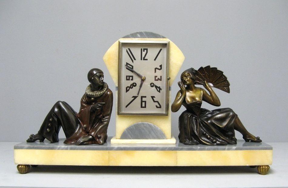 Art Deco Clock. Pierrot And Colombine.