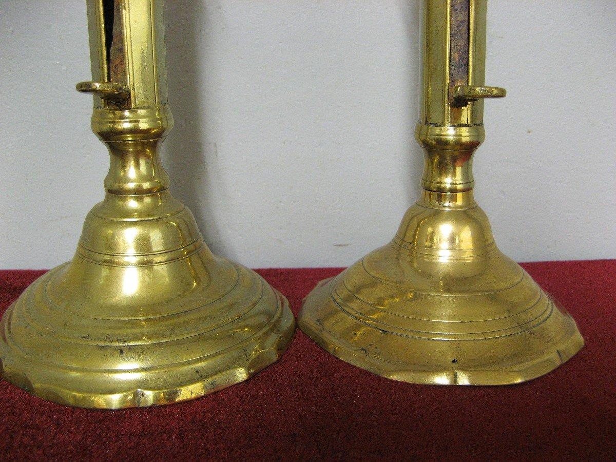Fausse Paire De Bougeoirs En Bronze XVIIIe.-photo-4