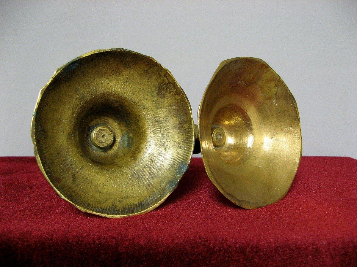 Fausse Paire De Bougeoirs En Bronze XVIIIe.-photo-1
