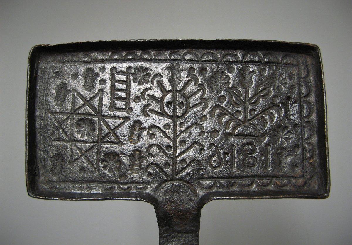 Mold To Forgotten Wedding 1816. Waffle Iron Wrought Iron Nineteenth.