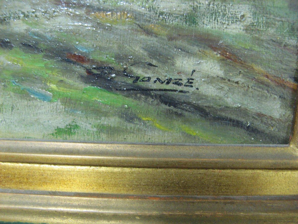 Landscape At La Charrette. Oil On Canvas Signed François Gomzé (1861-1949).-photo-3
