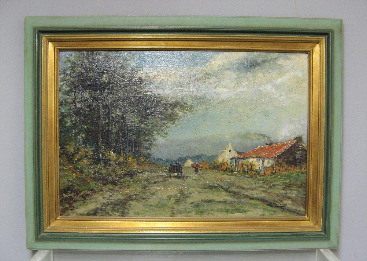 Landscape At La Charrette. Oil On Canvas Signed François Gomzé (1861-1949).