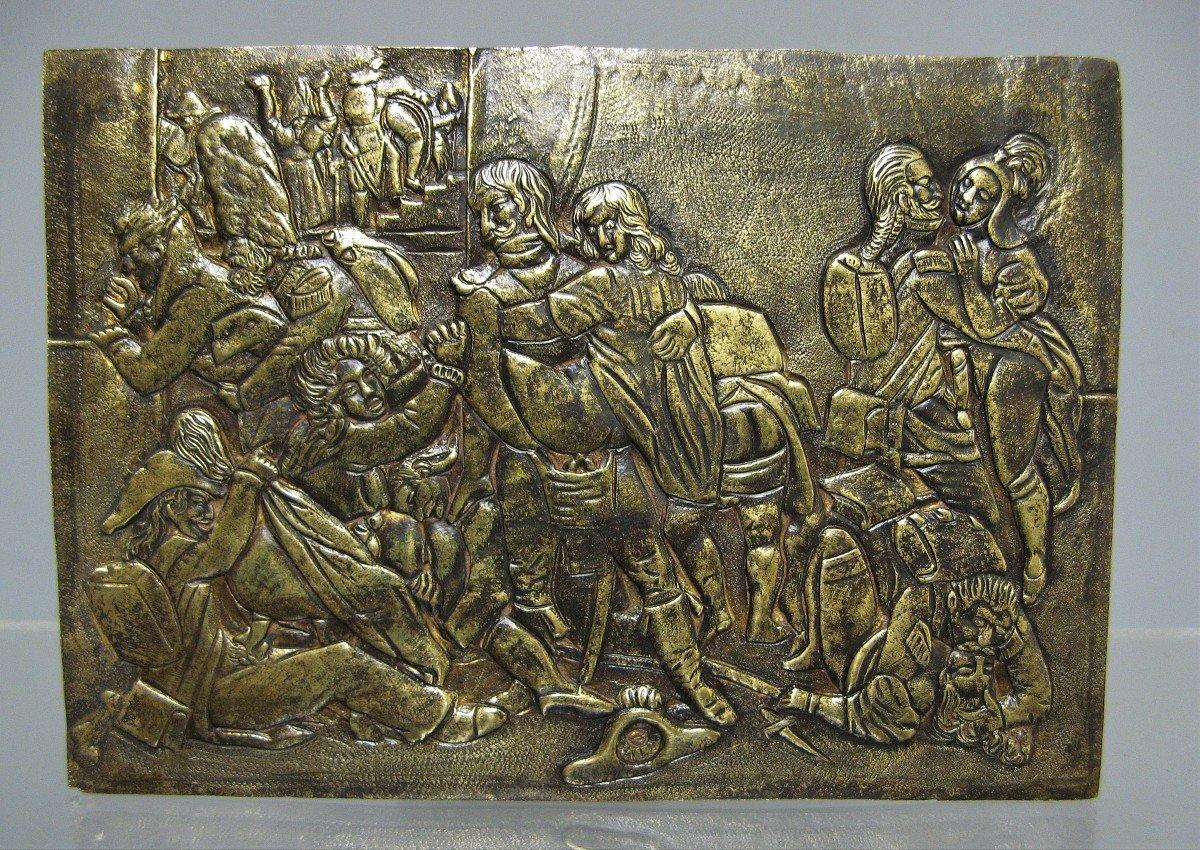 Plaque érotique Aux Soldats De l'Empire XIXe.