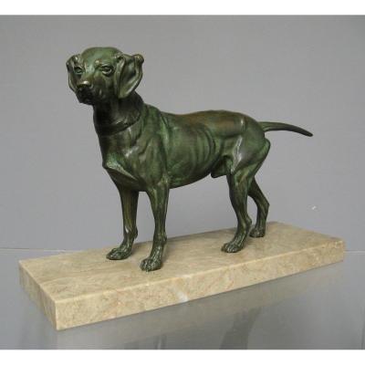 Bronze Animalier Par Edouard Delabrierre. Chien De Chasse