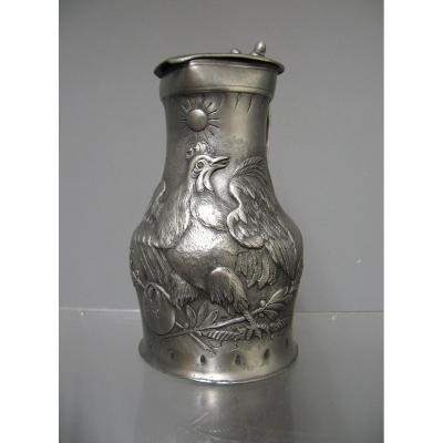 Tin Pitcher Louis Phillipe 1832. French Cock.