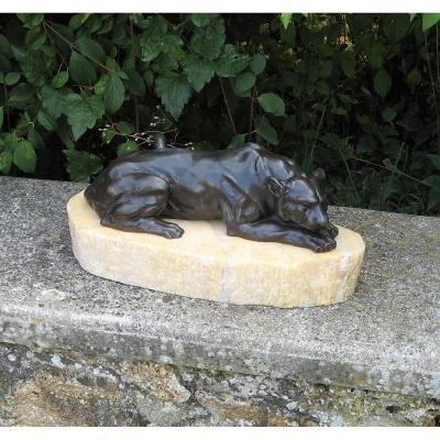 Lionne Couchée. Bronze Animalier Art Déco Par Henri Payen.