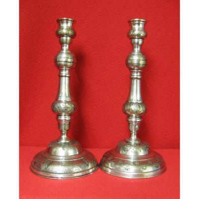 Pair Of Candlesticks Louis XVI. Silver Bronze Eighteenth.