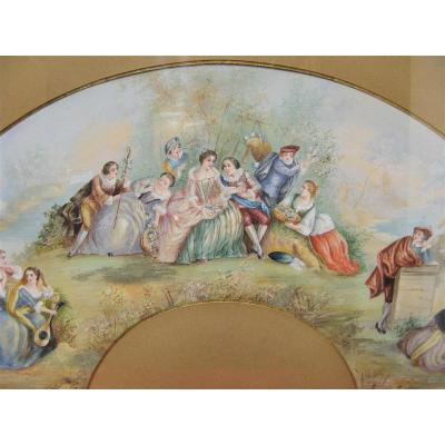Signed Fan Project, Dated 1927. Romantic Scene.
