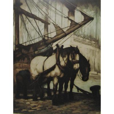 Eau Forte Marine De Kurt Peiser (1887-1962).