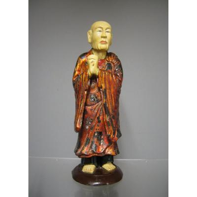 Taoiste Monk In Lacquered Polychrome And Gilded Wood. Vietnam Late Nineteenth.