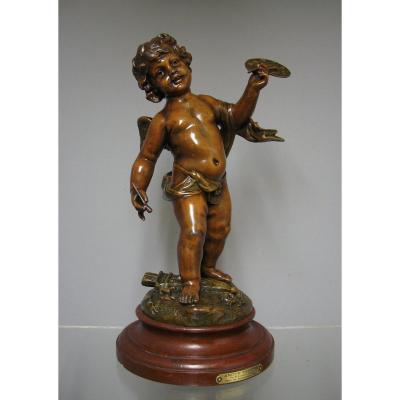 Putti Amour Peintre Par E. Rousseau Sculpteur.
