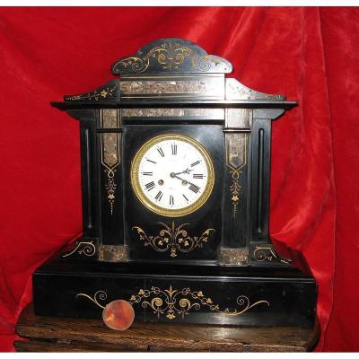 Important 19th Century Black Marble Mantel Clock.