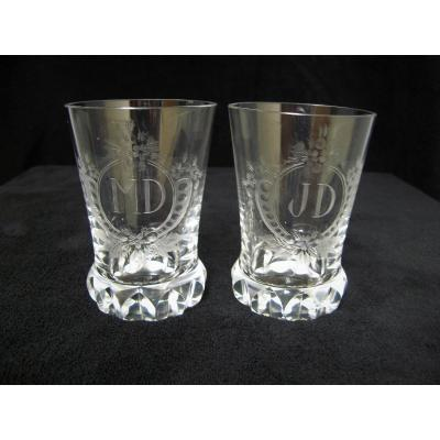 19th Century Engraved Crystal Wedding Glasses.