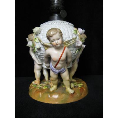 Nineteenth Saxony Porcelain Oil Lamp.