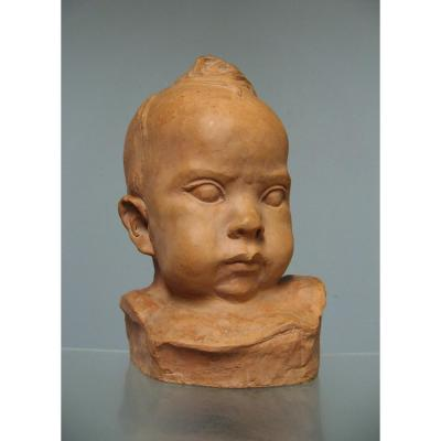 Terracotta Baby Head Signed Honoré Sausse.