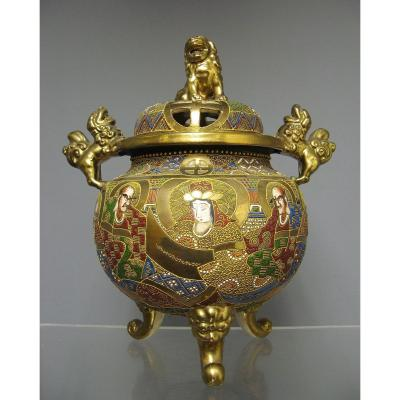 Brûle Parfum Satsuma Geisha Samouraï Japon Impériale XIXe.
