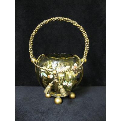 Enamelled Glass Cup Golden Brass Frame. Art Nouveau