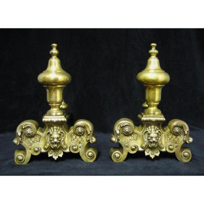 Pair Of Andirons With Lion Heads In Bronze. Napoleon III Period.