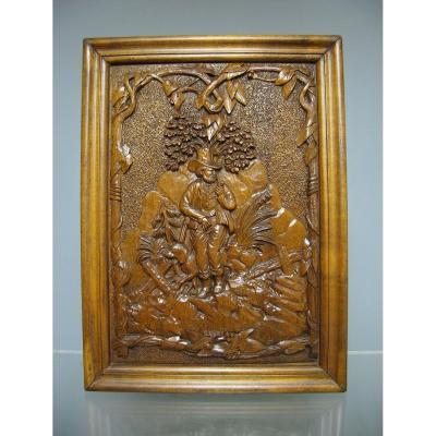 Bas Relief En Bois Sculpté XIXe. Scène De Chasse.
