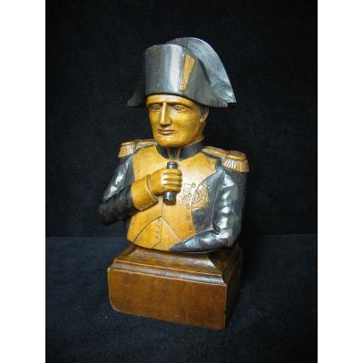 Polychrome Carved Wood Bust Of Napoleon 1st.