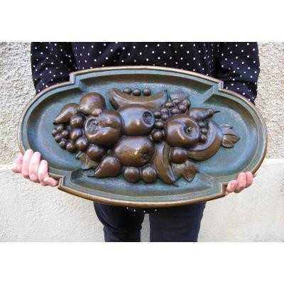 Bas Relief En Bronze à Décor De Fruits XIXe