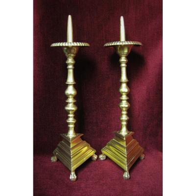 Paire De Pique-cierge En Bronze XVIIIème