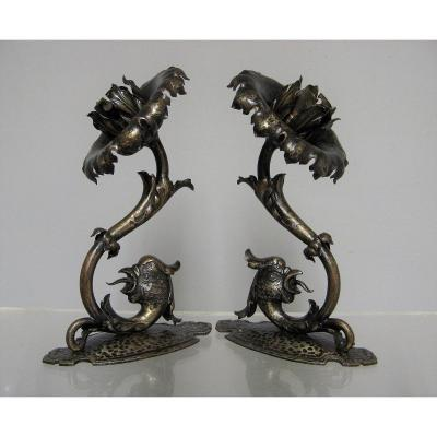 Pair Of Gothic Style Metal Wall Sconces Around 1940/50.