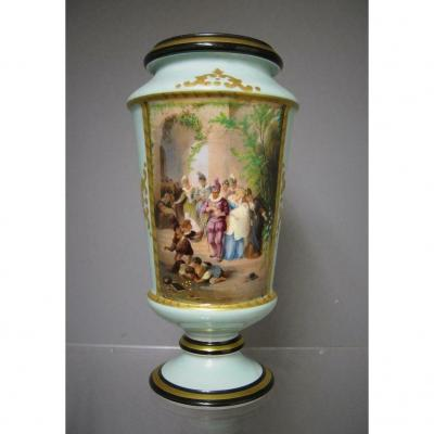 Vase In Old Paris Nineteenth. Renaissance Style.