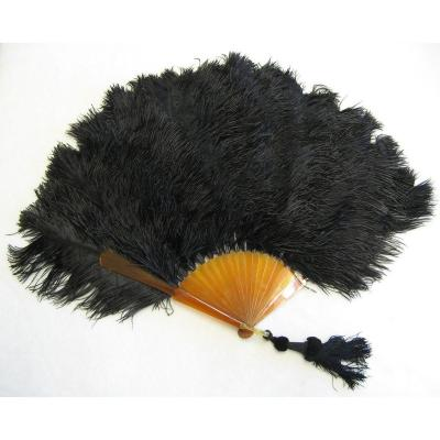 Large Fan In Blonde Tortoise Shell And Black Ostrich Feathers.
