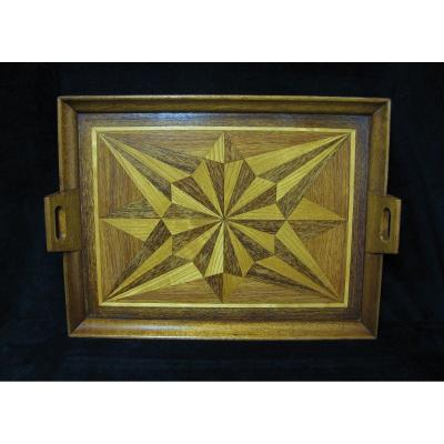 Serving Tray In Wood Marquetry.