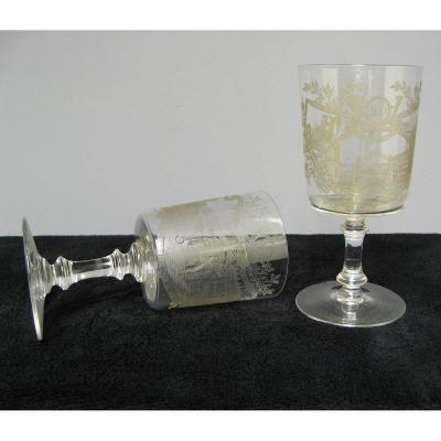 Pair Of Baccarat Crystal Glasses. Souvenir From The 20th Foot Hunter Battalion.